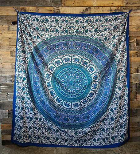Ankit 80 X 90 Inch Blue Floral Elephant 100  Cotton Indian Traditional Handmade Tapestry Wall Hanging Picnic Blanket Beach Blanket For Wall D Cor Bedroom Living Room Wall Art Bohemian Boho Dorm