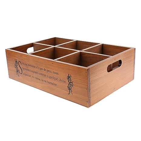 baoblaze 6 compartimentos Madera Joyero Madera Joyero caja de madera caja de madera para ropa interior