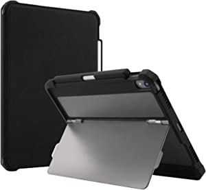 """Maxjoy Fit for iPad Pro 11 Case, iPad Pro 11 Cover, [Support Pencil Charging], Shockproof Rugged iPad 11 Protective Cover with Kickstand + Sleep/Wake + Apple Pencil Holder for iPad Pro 11"""" 2018, Black"""
