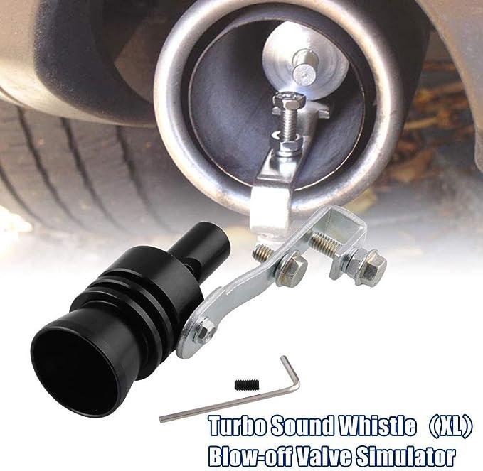 Dewhel Universal Aluminum Turbo Sound Exhaust Muffler Pipe Whistle Car Blow off valve BOV Tip Simulator Whistler L, Red