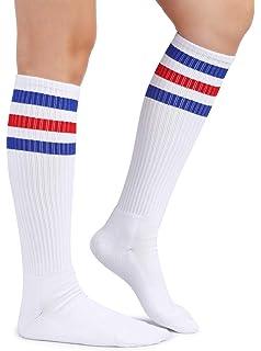 bb8f41b2a72 Eleray Cushion Classic Triple Stripes Cotton White Knee High Retro Tube  Socks