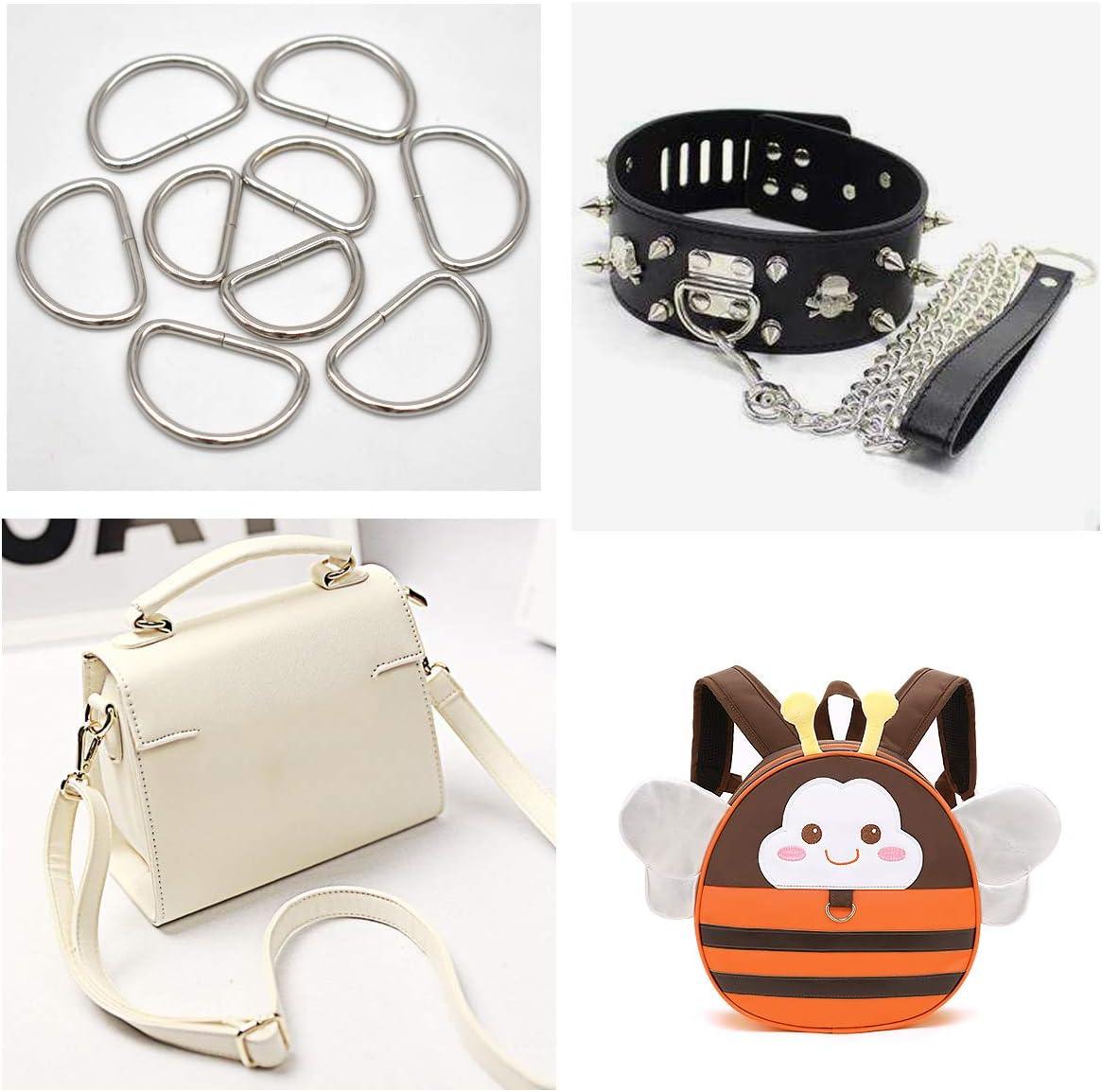 Xiuyer 100 pcs Metal D Rings /& Tri Glide Slide Buckles Sewing Hardware Accessory for DIY Backpack Handbag Purse Belt Handicraft 25mm 32mm Silver