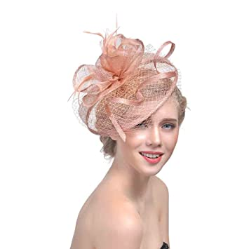 Amazon.com  Wcysin Women s Big Veil Hat Feather Fascinator Cocktail ... 31479251786