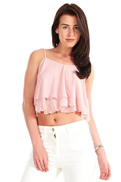 hot sale online 53c34 f0c4f Pesca da donna in Chiffon, Crop Top-Camicia senza maniche ...
