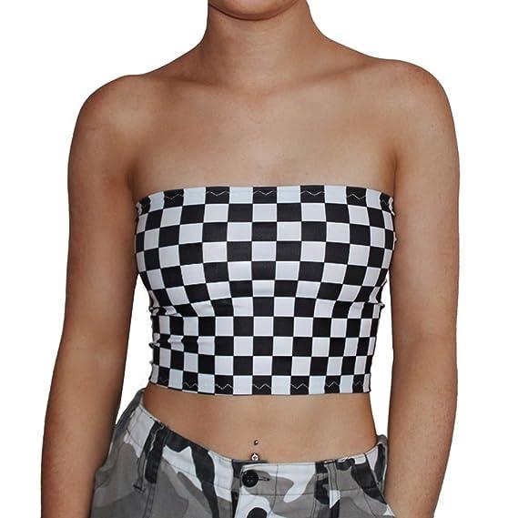 Mujer Fuera del Hombro Camiseta - Sexy Bodycon Crop Tops a Cuadros Moda Sin Mangas T