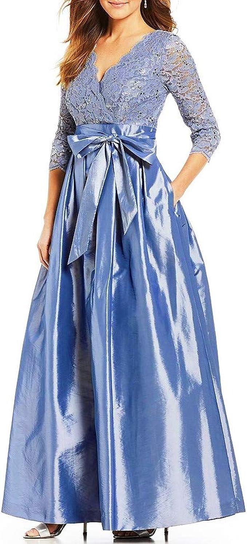 Zottom Damenmode V-Ausschnitt Langarm Hohlspitze Nähen Kleid Bogen
