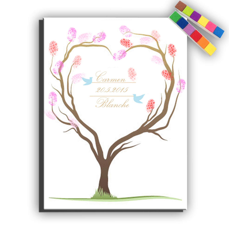 Yiju Fingerprint Signature Canvas Print Love Tree Wedding Tree Wedding Gift Wedding Decoration Party Gift Wedding Name (Included 12 Ink Colors) (30x40cm no Framed)