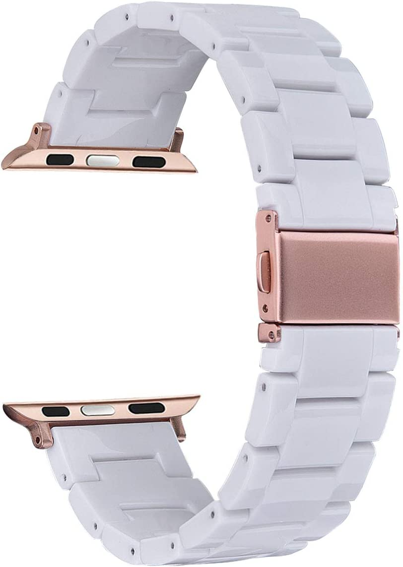 V-MORO Resin Strap Compatible with Apple Watch Band 38mm 40mm iWatch Series 5/4/3/2/1 with Stainless Steel Buckle Replacement Wristband Women Girl Men(White-tone, 38mm/40mm)