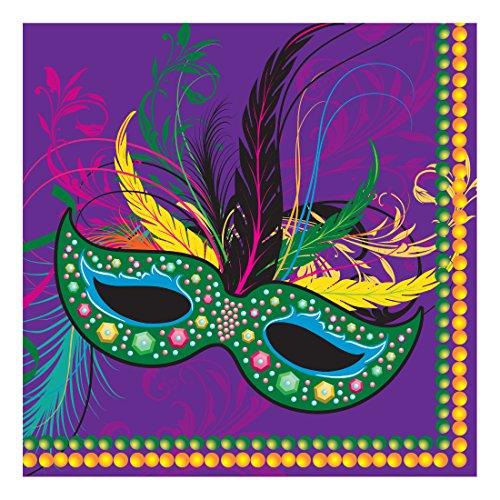 Creative Converting 652196 16 Count Paper Beverage Napkins, Mardi Gras Masks ()