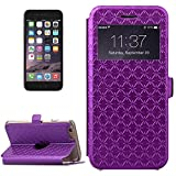 jdon-case, For iPhone 6 / 6s, Argyles Texture Horizontal Flip Solid Color Leather Case with Holder & Card Slot & Call Display ID ( Color : Purple )