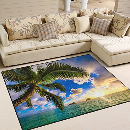 Naanle Beautiful Sunrise Ocean Area Rug 5'x7', Hawaii Palm Tree Polyester Area Rug Mat for Living Dining Dorm Room Bedroom Home (Sunrise Tree)