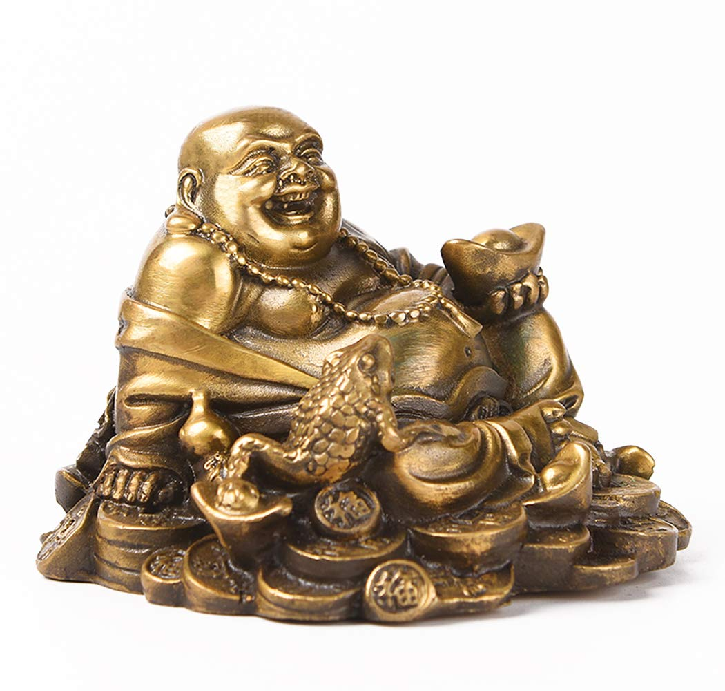 Fengshui Brass Sitting Laughing Buddha with Money Frog Protect House Peace Wealth Decoration