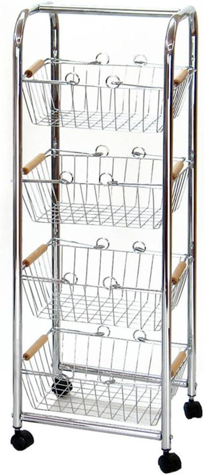 Lola Derek - Carro verdurero 4 cestas hierro cromado 27,50 x 26 x 78 cm .