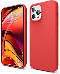 elago Liquid Silicone Case Compatible with iPhone 12 Pro Max 6.7 Inch (Red) - Full Body Protection (Screen & Camera Protection)