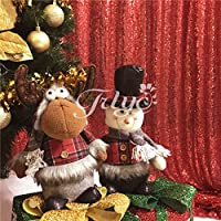 TRLYC 4Ft*7Ft Photo Booth Backdrop Red Sparkly Wedding And Party Curtain