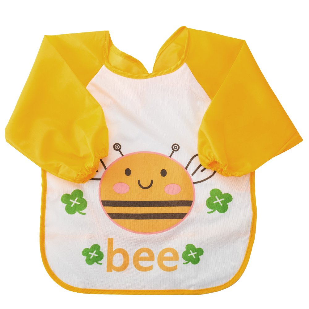 Kids Sleeved Feeding Bibs Waterproof Long Sleeve Art Apron Smock Bib for Infants Toddlers Bee Librao
