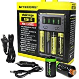 NITECORE i4 Intellicharge universal smart battery Charger For Li-ion / IMR / Ni-MH/ Ni-Cd 26650 22650 18650 18490 18350 17670 17500 17335 16340 RCR123 14500 10440 AA AAA AAAA C types with Ac and 12V DC (Car) power cords, 2 X EdisonBright AA to D type battery spacer/converters