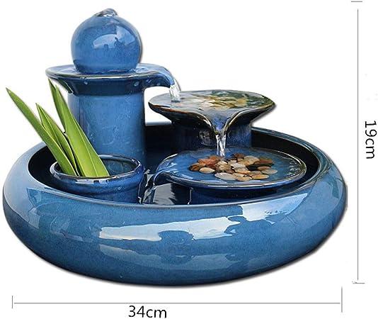 MINMINA Decoración Interior De La Fuente, Jardín Feng Shui Decoración Interior Fuente De Agua Decoración Decoración Fuente,Blue,34 * 19cm: Amazon.es: Hogar