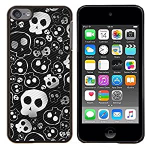 YiPhone /// Prima de resorte delgada de la cubierta del caso de Shell Armor - Cráneo lindo fresco del metal Diseño Punk Muerte - Apple iPod Touch 6 6th Touch6