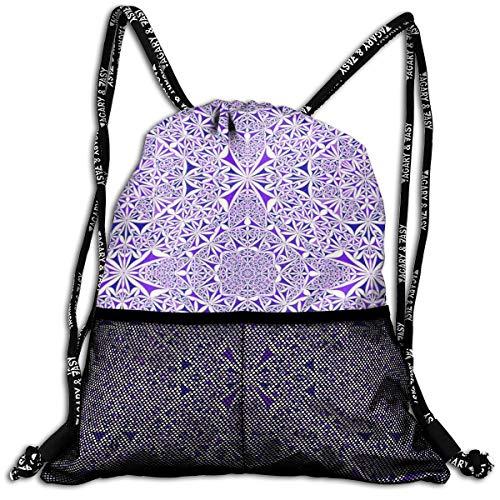 Taslilye Triangle Kaleidoscope Pattern Kaleidoscopic Personalized Drawstring Backpack Front Zipper Mesh Bag Unisex For Travel Fitness