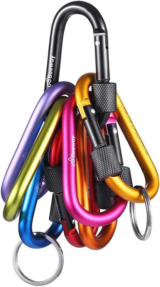Bloqueo mosquetón – Beeway® Pack 8 Premium aleación de aluminio D mosquetones gancho de clip con 2pcs Llavero o anillo para al aire libre, camping, ...