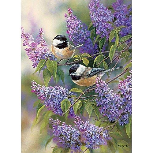 Chickadees Framed - Chickadees & Lilacs 1000 Piece Adult Puzzle