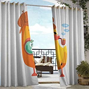 ETHEEKA Curtains for Living Room,Cartoon Private Detective Duckling Character with a Magnifying Glass and Pipe Duck Sherlock,Rod Pocket Curtain Panels,W72x84L Multicolor