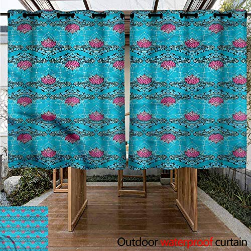 Sunnyhome Outdoor Grommet Top Curtain Panel Lotus Asian Culture Pattern for Porch&Beach&Patio W 55