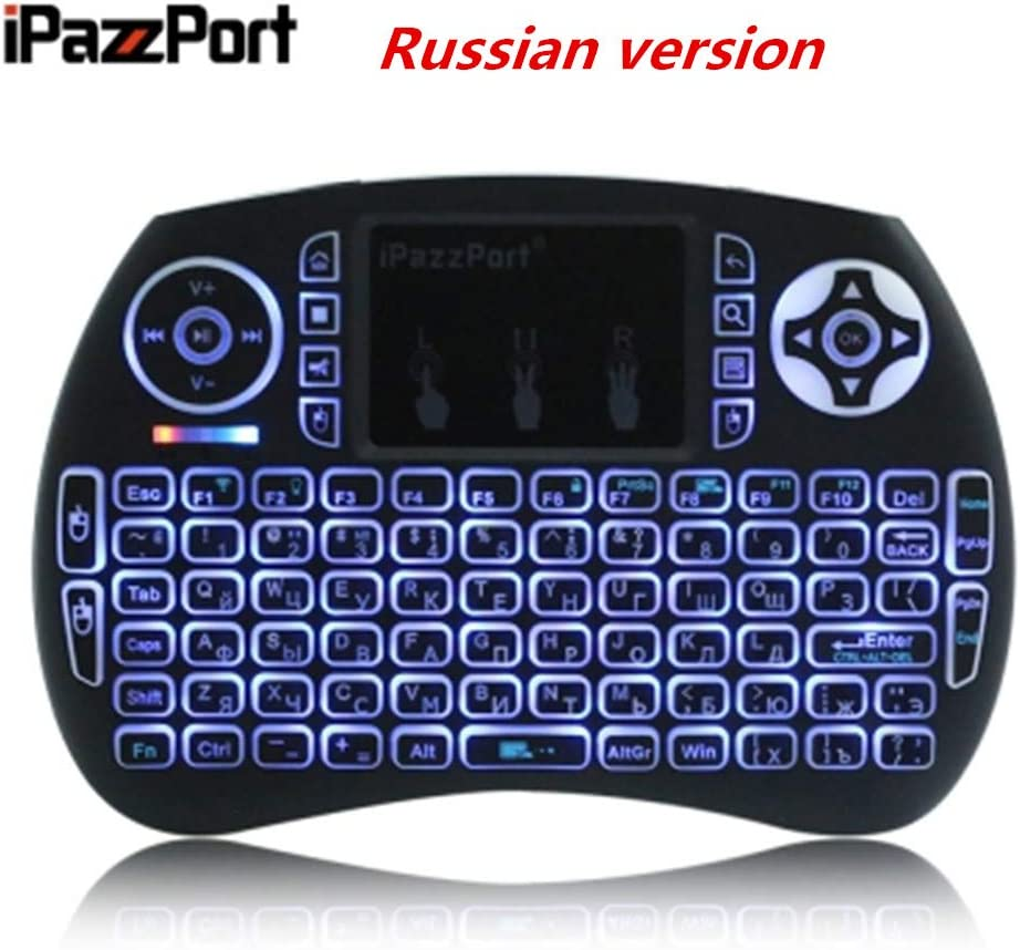 Calvas IPazzPort Mini 2.4G Wireless QWERTY Keyboard Portable Air Mouse Touchpad Backlit Keyboard Russian Spanish Hebrew French Version Color: Russian Version