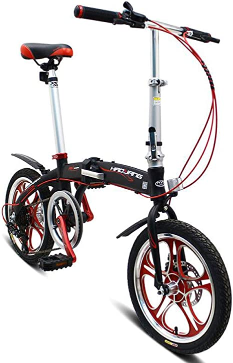 AOHMG Bicicleta Plegable Adulto, 6-velocidades Aluminio Bici ...