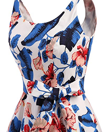 Bbonlinedress Rockabilly Vintage Retro de Flower Vestidos Lazo con Estampado Royalblue Cóctel 1950 BIXnnZrq0