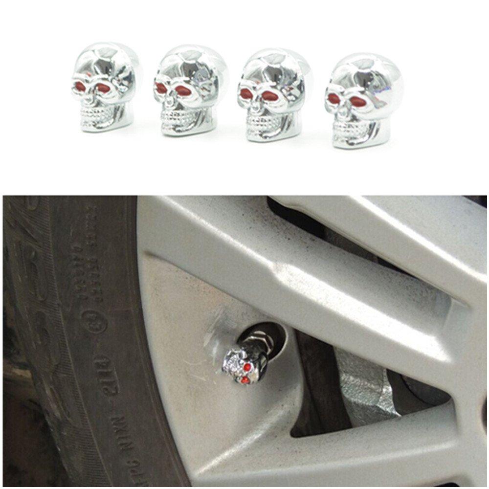 4/PCS Auto Totenkopf Auto-Reifen Reifen Stem Air Ventilkappen Staub Abdeckungen//Autoreifen Hohe Qualit/ät