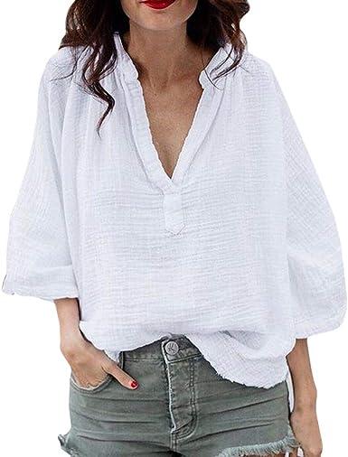 Mujer Algodón y Lino Camisa Sexy Cuello En V Profundo Manga Larga Blusa Suelto Oversized Camiseta Color Sólido Casual Tops de Túnica S-5XL: Amazon.es: Ropa y accesorios