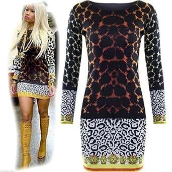 Womens Ladies Celebrity Nicky Minaj Mini Bodycon Leopard Tiger Print Dress Top UK 8/10 (S/M)