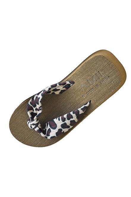 SODIAL(R) Chancletas de Mujer Sandalias de Verano de Plataforma de cuna de tacon Alto de playa para Senoras, Tamano US 6.5 Leopardo
