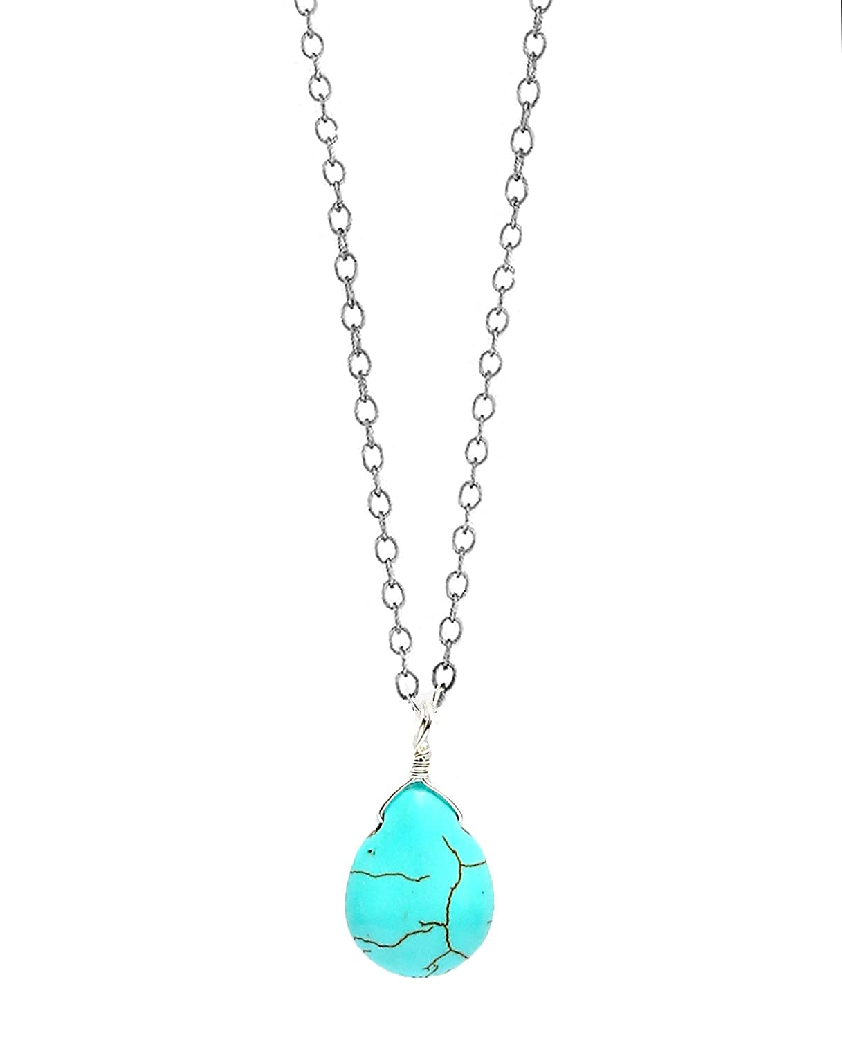 7d7a2b210614 Amazon.com: Michelle Smith Collection Sterling Silver Turquoise Teardrop  Pendant Necklace 16