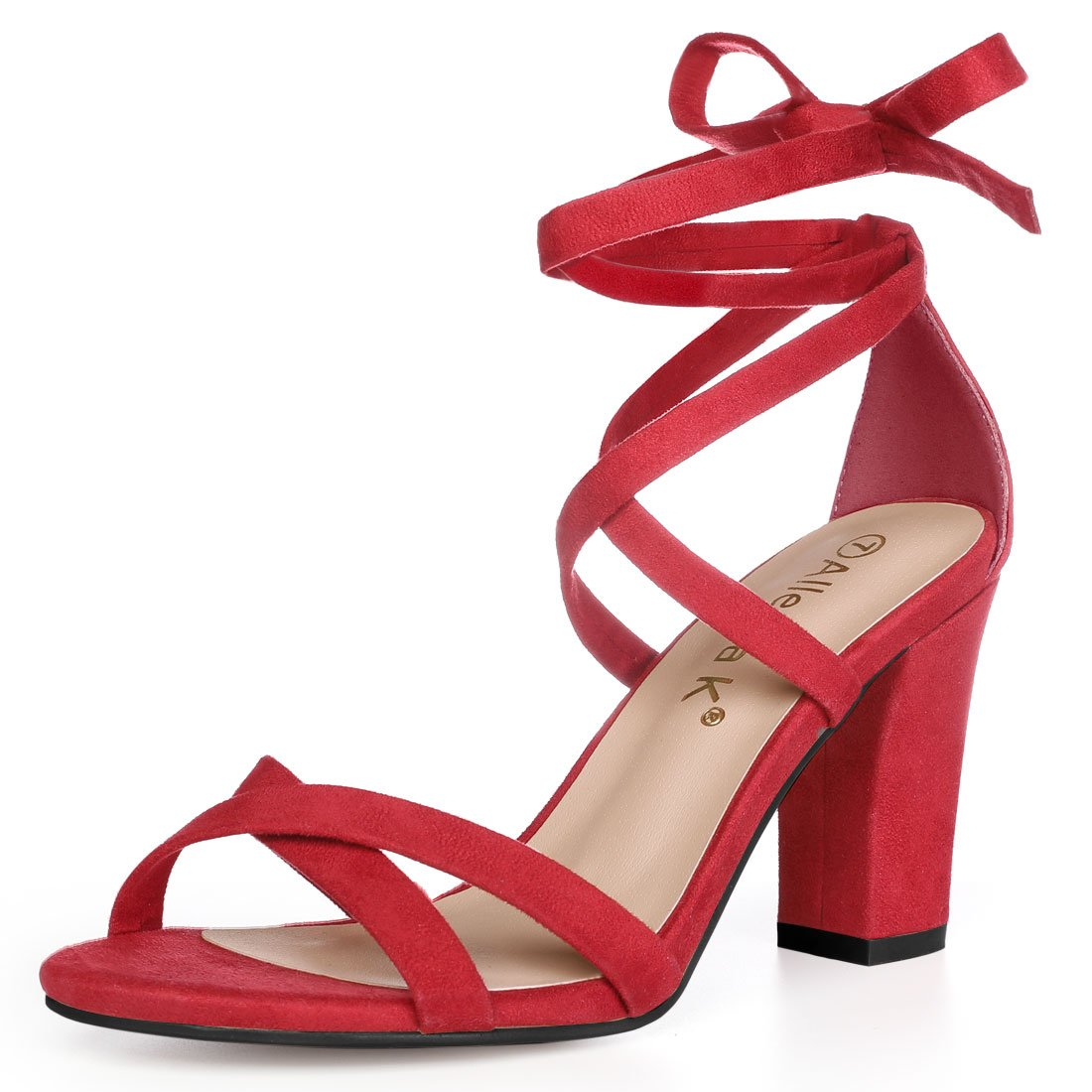 Allegra K Women's Lace-up Block Heel Red Sandals - 7 M US