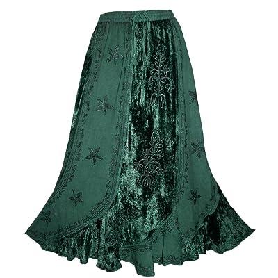 552 Sk Women's Elastic Waistband Velvet Rayon Long Medieval Renaissance Vintage Skirt Maxi at Amazon Women's Clothing store