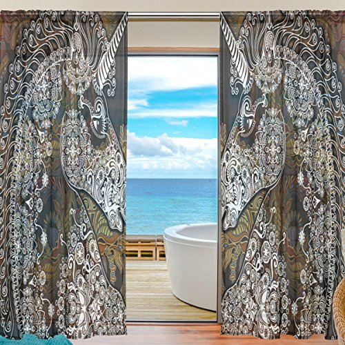 SEULIFE Window Sheer Curtain, Tribal Floral Mandala Animal Unicorn Voile Curtain Drapes for Door Kitchen Living Room Bedroom 55x84 inches 2 Panels by SEULIFE