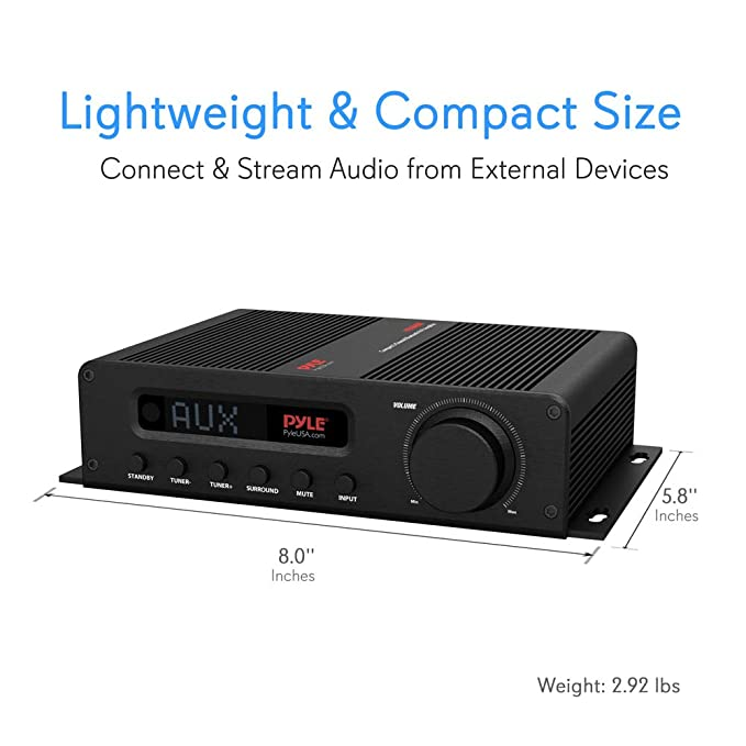 Wireless Bluetooth Home Audio Amplifier - 100W 5 Channel Home Theater Power  Stereo Receiver, Surround Sound w/ HDMI, AUX, FM Antenna, Subwoofer