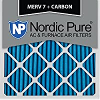 Nordic Pure 20x20x1 MERV 7 Plus Carbon AC Furnace Air Filters, Qty 12