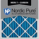 Nordic Pure 20x20x1 MERV 7 Plus Carbon AC Furnace Air Filters, Qty 6