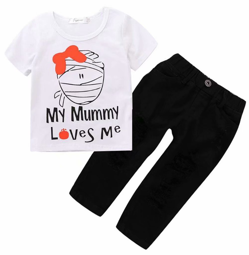 2Pcs Toddler Boys Girls Halloween My Mummy Love Me Letter Print T-Shirt Tops+Hole Denim Pants Outfits Size 3-4Years/Tag110 (White)
