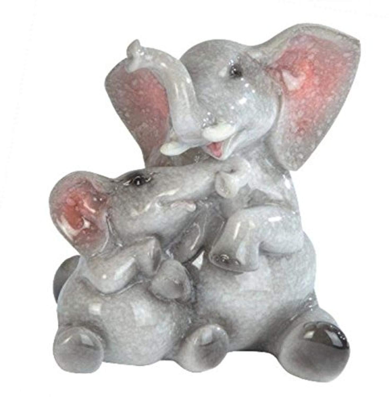 """StealStreet Grey Elephant & Baby Elephant Figurine, 4"""""""