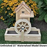 Amish-Made Decorative Gristmills with 15'' Waterwheel, Cedar Stain