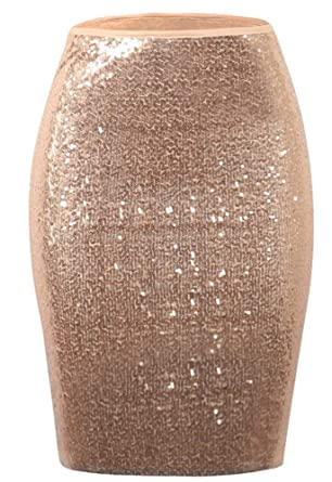 bdae6efe249 ENLACHIC Women s Sequin Bodycon Skirt High Waist Sparkle Pencil Skirt Party  Cocktail