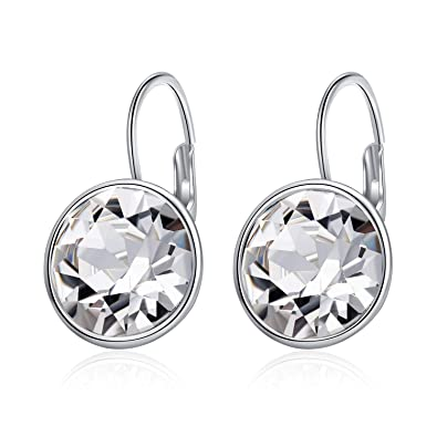 ceb736af4 Image Unavailable. Image not available for. Color: AOBOCO Sterling Silver Crystal  Bella Earrings Leverback Pierced ...