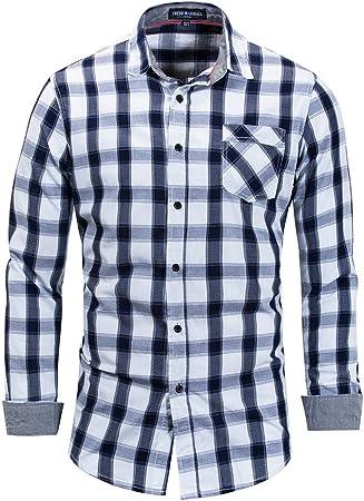 LIUXING-TUMI Hombres Rejilla Camisa de algodón Informal Slim Fit Solapa Cuello Botones de Manga Larga Tops con Bolsillos (M-XXL) para el Trabajo de la Empresa Diariamente Talla M L XL XXL 3XL:
