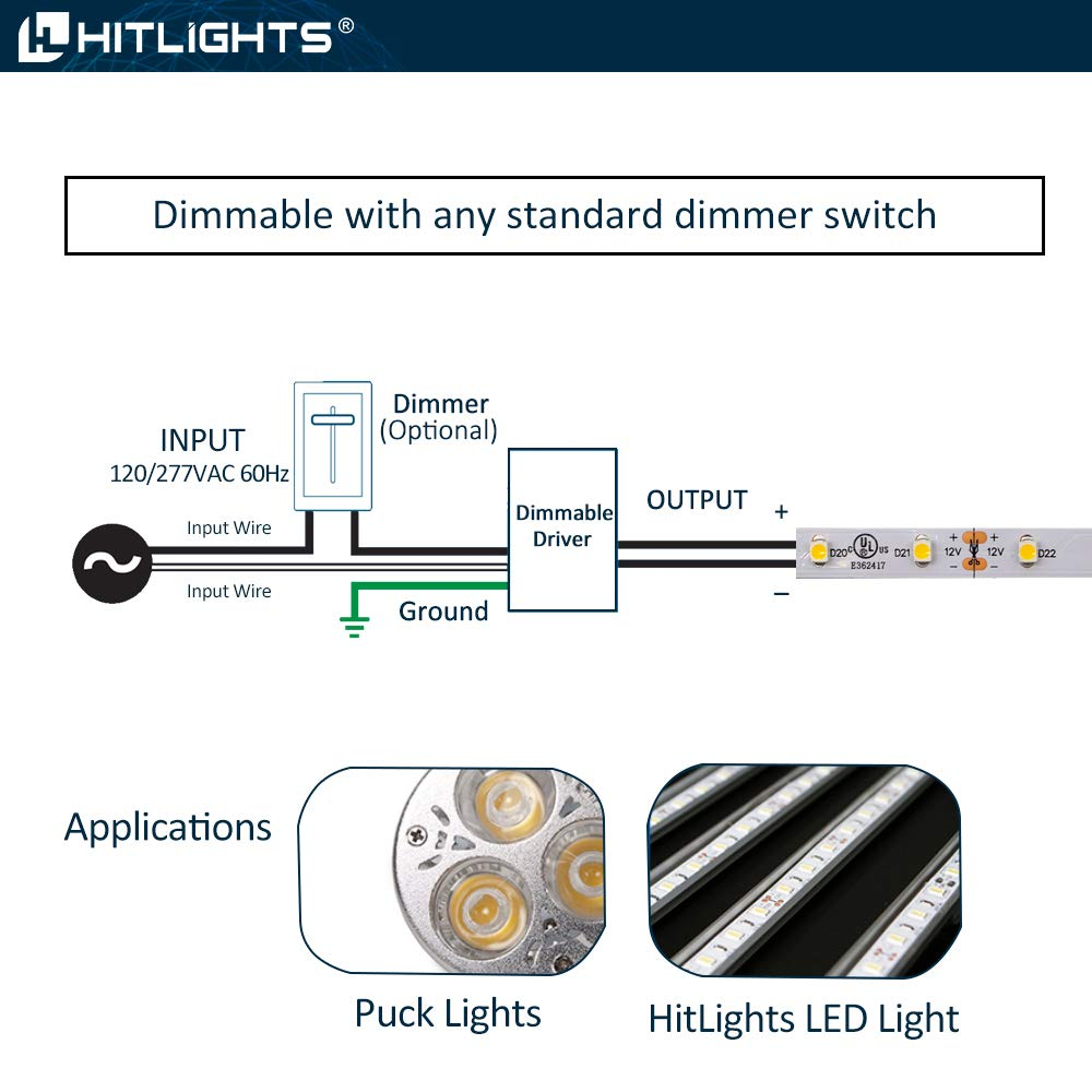 HitLights 60 Watt Dimmable Driver, Magnetic, for LED Light Strips - 110V AC-12V DC Transformer. Made in the USA. Compatible with Lutron and Leviton by HitLights (Image #4)
