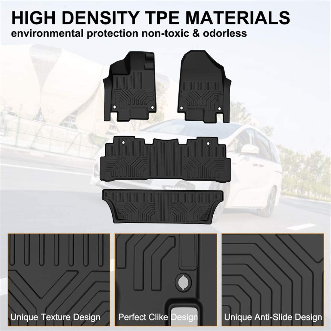 KIWI MASTER Floor Mats Liners Compatible for 2018-2019 Honda Odyssey All Weather Protector Mat Front /& Rear 2 Row Seat TPE Slush Liner Black